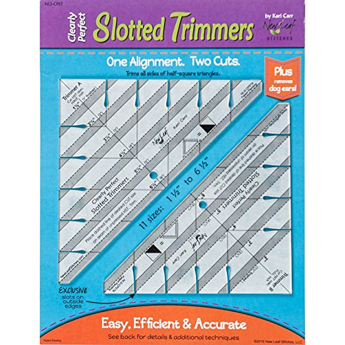 Clearly Perfect Slotted Trimmers by New Leaf Stitches- Quilting Tool for Fabric Cutting - Quilting Template and Stencil