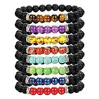 LOLIAS 8 Pack Bead Gemstone Bracelet for Men Women Natural Stone Diffuser Bracelet Stretch Yoga Bracelets