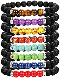 8 Pack Bead Gemstone Bracelet for Men Women Natural Stone Diffuser Bracelet Stretch Yoga Bracelets
