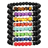 LOLIAS 8 Pack Bead Gemstone Bracelet for Men Women Natural Stone Diffuser Bracelet Stretch Yoga Bracelets