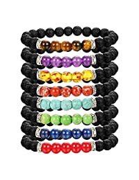 LOLIAS 8 Pack Gemstone Beads Bracelet for Men Women Natural Stones Diffuser Bracelet Yoga Stretch