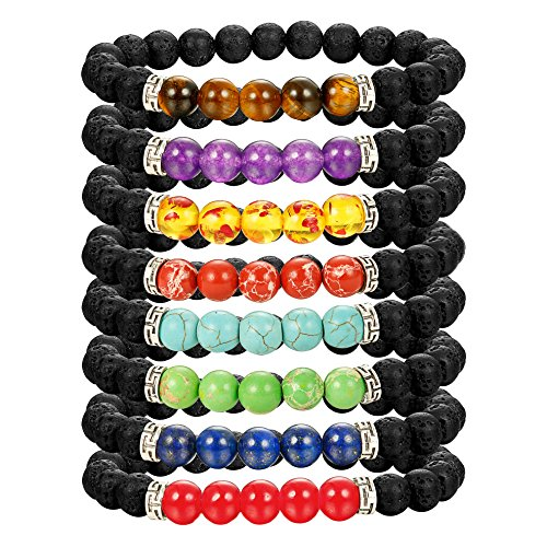 (LOLIAS Chakras Bracelet 8 Pack Bead Gemstone Bracelet for Men Women Natural Stone Diffuser Bracelet Stretch Yoga Bracelets)