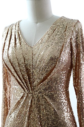 MACloth Women Long Sleeves V Neck Sequin Evening Dress Wedding Party Formal Gown Lavanda