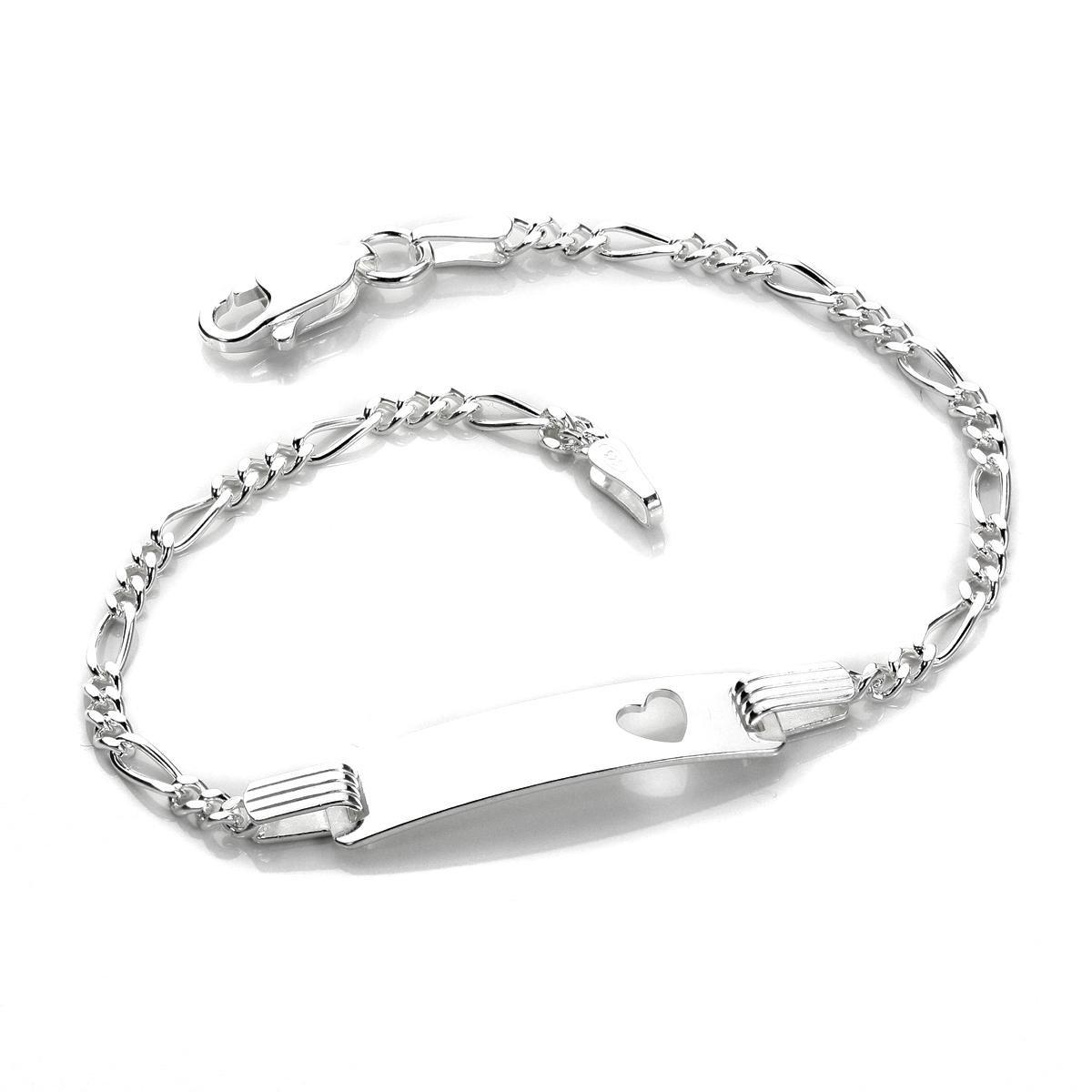 Silver Baby Heart Identity ID Bracelet JewelleryBox HJ-015