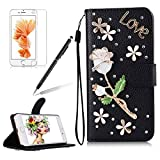 Girlyard For iPhone 6 / iPhone 6S [Hand Strap] 3D Handmade Diamond Crystal Black PU Leather Flip Wallet Folio Case Shiny Glitter Stand Folding Magnetic Case Cover with Card Slots White Rose Flower Love