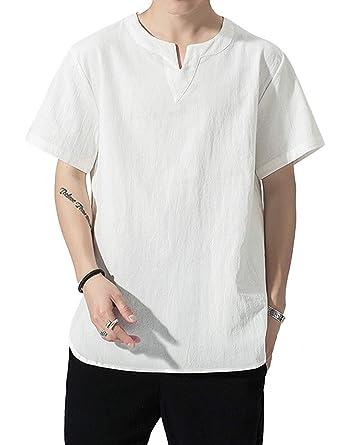 Zhhlinyuan Hidalgo Camiseta Casual Hombres Traje Chino Tang ...
