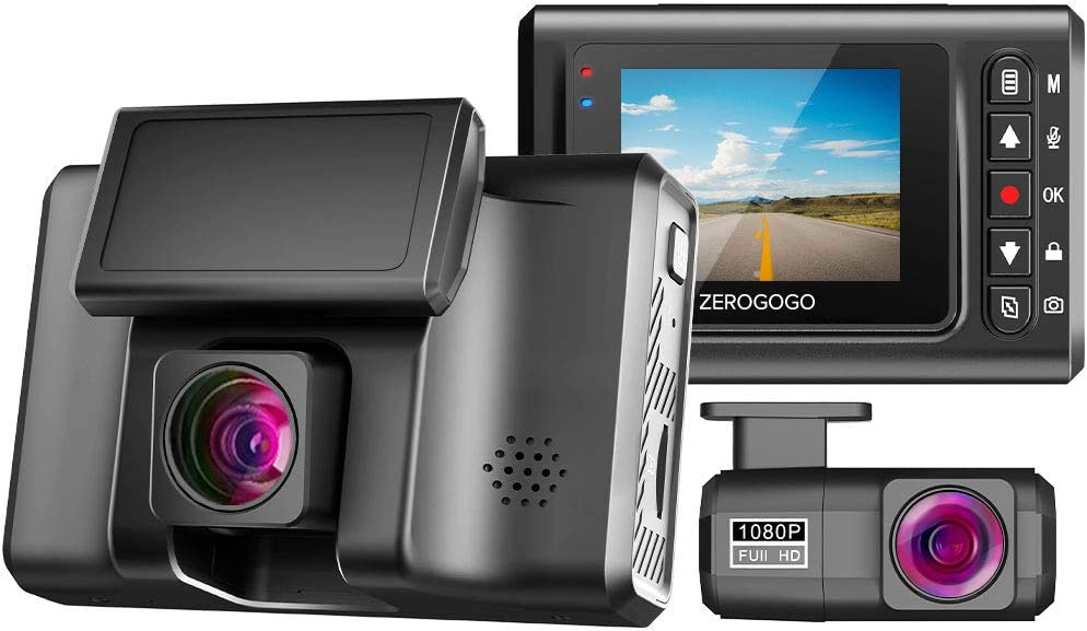 ZEROGOGO Dash Cam Front and Rear 1920x1080P, 155° Wide Angle Dash Camera for Cars, 2560x1440P Single Front Driving Recorder Support 256GB, Night Vision, Parking Monitor, G-Sensor, WDR, GPS Module