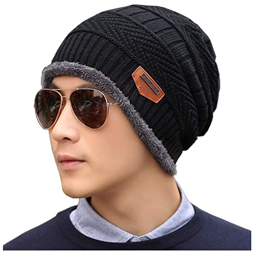 ccde88d1 Men's Warm Winter Soft Lined Thick Wool Knit Skull Cap Slouchy Beanies Hat