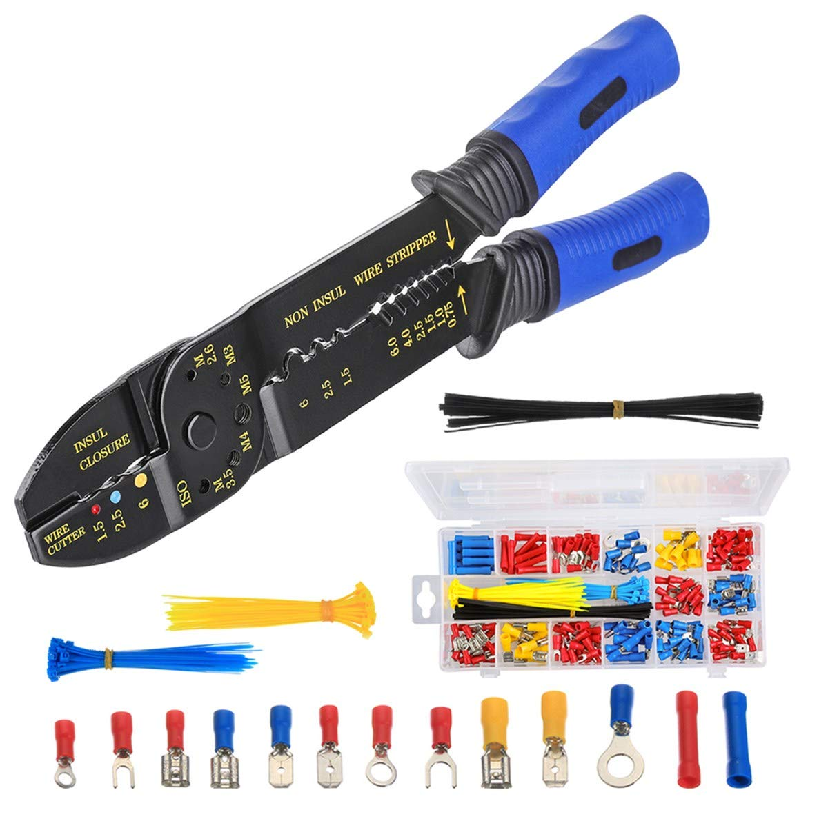Crimpzangen INSMA Crimping tool isolierte Abisolierzange 1.5mm²-6mm² unisolierte Aderendhülsenzange 1.5mm²-4.6mm² mit Kabelschuhen Aderendhülsen Set Multi Crimpwerkzeug Set Spannhülsen Flachrundzangen