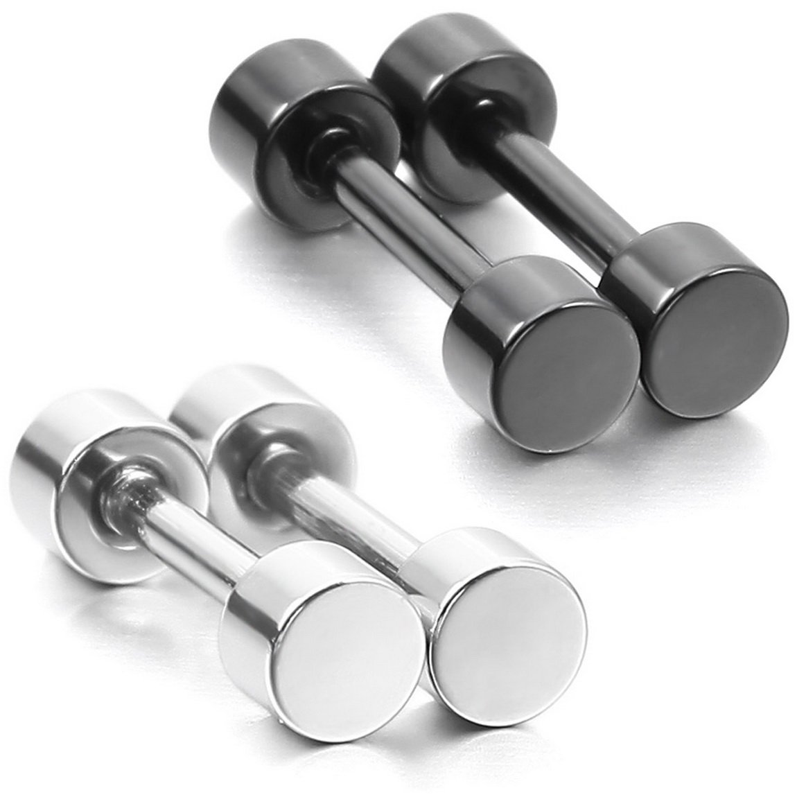 INBLUE Men,Women's 3mm 4 PCS Stainless Steel Stud Earrings Silver Tone Tapers Plugs Tunnel Double Side Set (2 Pairs)
