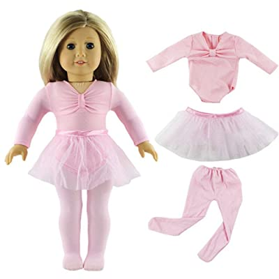 HongShun Doll Clothes Pink Ballet Tutu Dress for 18 inch American Girl Fashion Outfit: Toys & Games