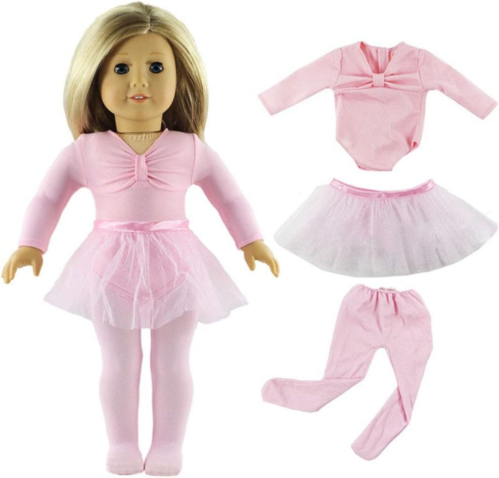 Sequin Ballerina Dress Pink//Black 18 in Doll Clothes Fits American Girl