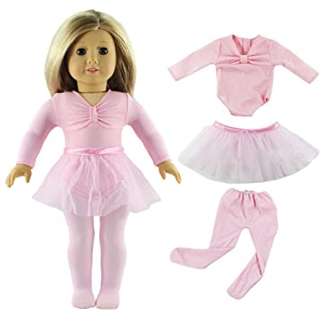 HongShun Doll Clothes Pink Ballet Tutu Dress For 18 Inch American Girl Fashion Outfit