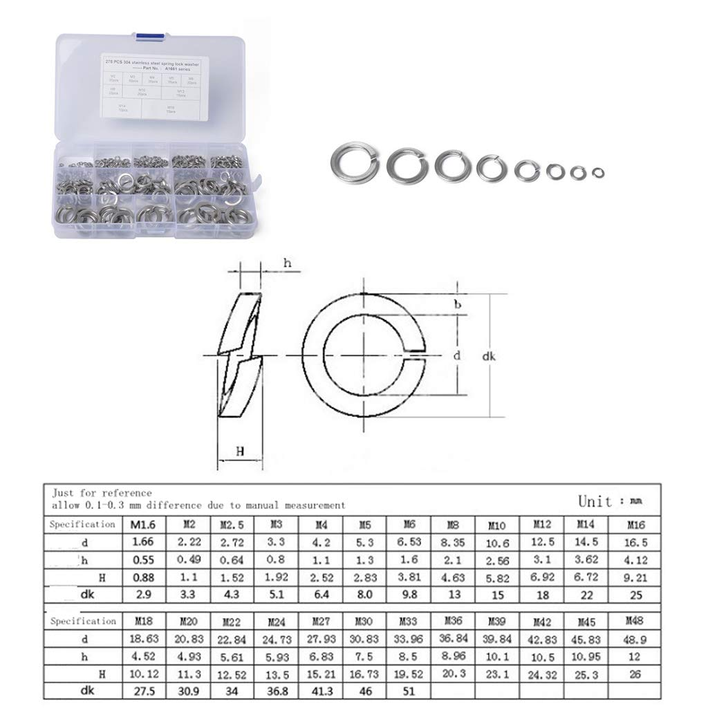 Shiwaki 275tlg Beilagscheiben Karosseriescheiben Unterlegscheibe Federringe-Sortimentskasten M2//M3//M4//M5//M6//M8//M10//M12//M14//M16