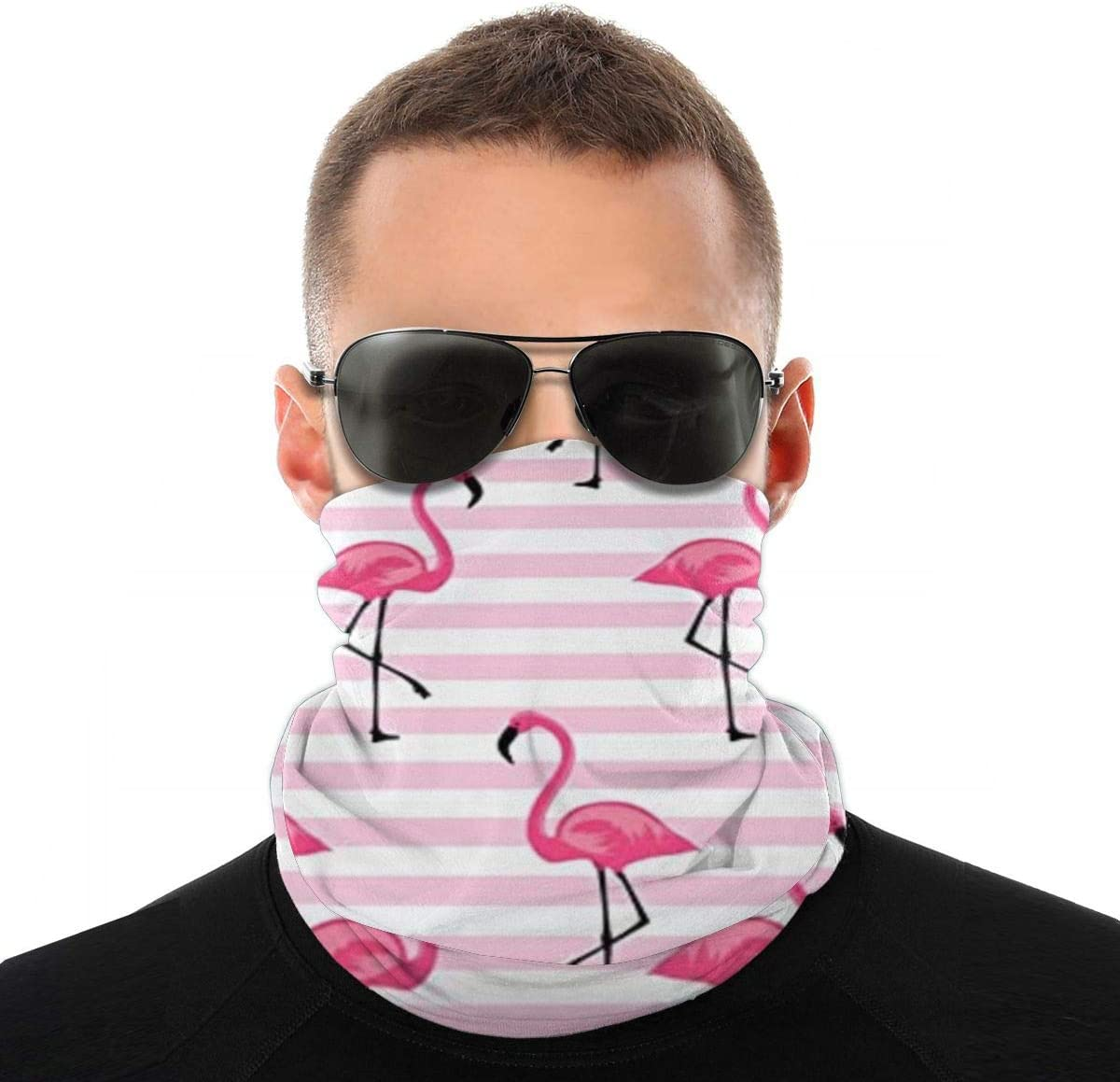 Pink Flamingo Versatile Multifunction Headwear Neck Gaiter Balaclava Helmet Liner Riding Face Cover For Kids Women Men Outdoors UV Protection