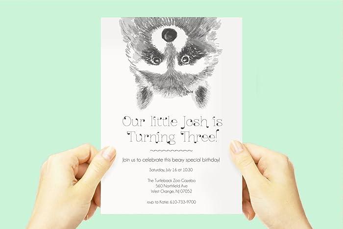 amazon com raccoon birthday party invite baby boby animal theme