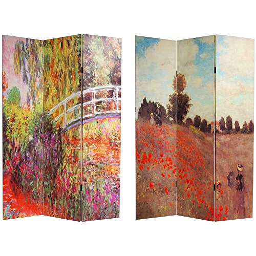 Oriental Furniture 6 ft. Tall Double Sided Works of Monet Canvas Room Divider