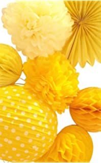 SUNBEAUTY 7er Set Gelb Serie Papier Lampion PomPoms Wabenbälle Fächer  Kombination Dekoration Für Party Feier