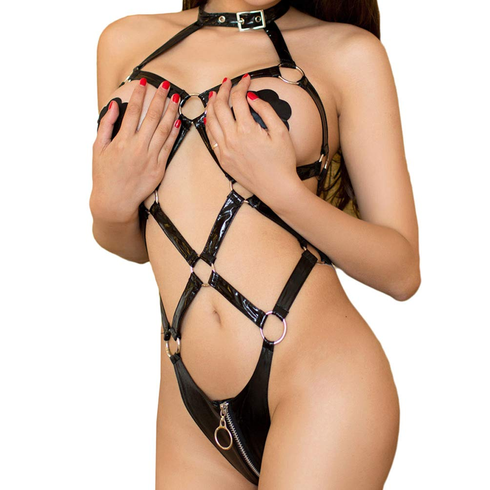 KHUFUZI Women's Sexy Open Cup Crotchless Bodysuit Teddies PU Leather Lingerie
