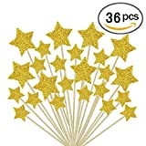 Gold Star Cake Toppers Kids Birthday Party Baby Shower Cupcake Decorations 36pcs