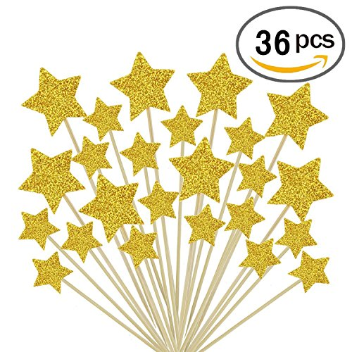 Gold Star Cake Toppers Kids Birthday Party Baby Shower Cupcake Decorations 36pcs (Cake Birthday Star)