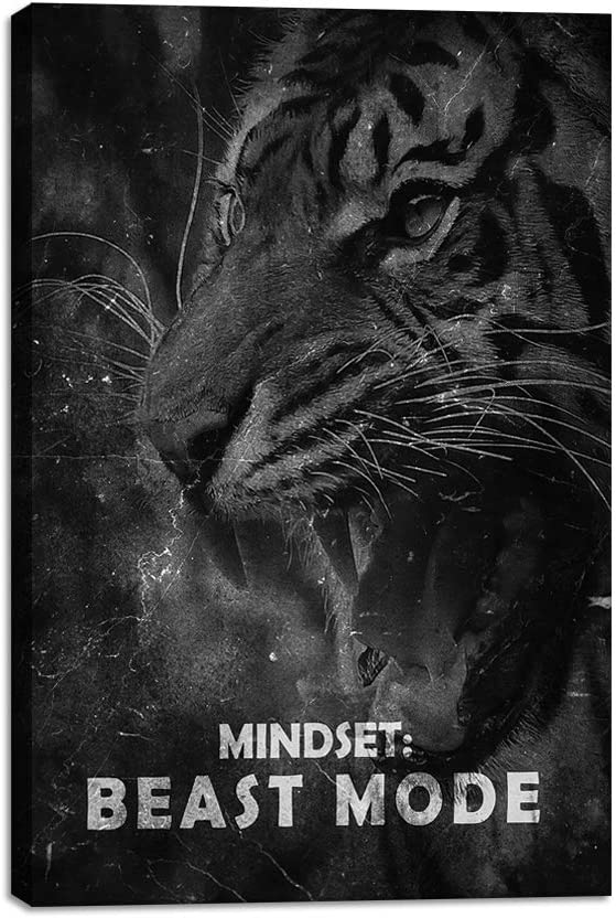 "Yetaryy Inspirational Canvas Wall Art Motivational Painting Positive Mindset Entrepreneur Quotes Inspiring Beast Tiger Posters Pictures Prints Artwork Decorations for Office Home Bedroom - 12"" Wx18 H"