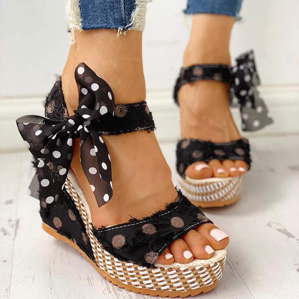 VEZARON Fashion Wave Point Wedges Sandals with Adjustable Lace-Up for Women Platform Heel Summer Sandals Casual Bohemian Roman Beach Shoes