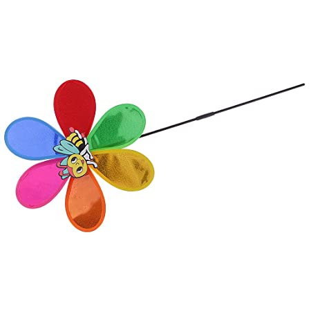 Evalue DIY Sequins Windmill Wind Whirligig Kids Party Toy Home Yard Ornament Random Animal Pattern