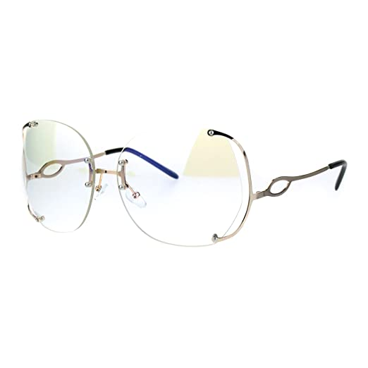 a6778689f0 Amazon.com  Womens Oversize Clear Lens Rimless Butterfly Diva Granny Eye  Glasses Gold  Clothing