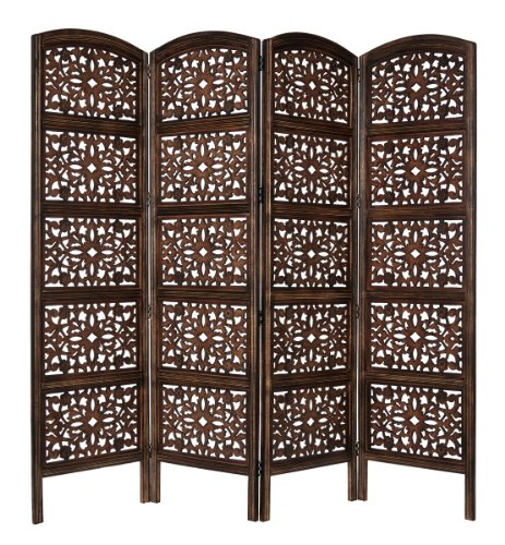 Rajasthan- Antique Brown 4 Panel Handcrafted Wood Room Divider Screen 72x80, Intricately Carved on Both Sides - Reversible- Hides clutter, Adds Décor, & Divides the Room (Antique Brown Rajasthan) ()