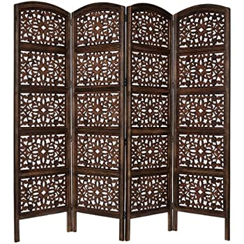 antique brown panel handcrafted wood room divider screen intricately carved sides making fully reversible highly versatile screens hobby lobby home depot