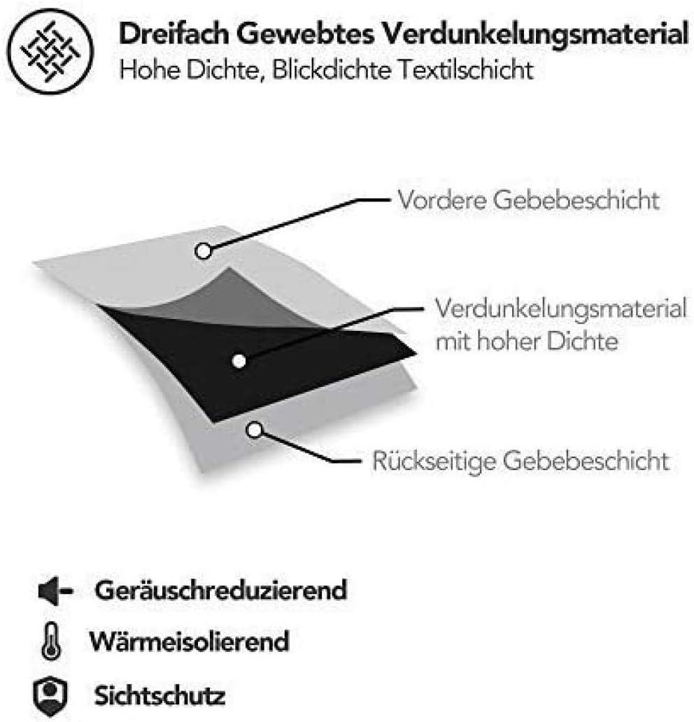 smilecstar Verdunkelungsvorh/änge mit /Ösen Undurchsichtige Vorh/änge Silber Sechseck 175x140 cm Schwarz 2er-Set-138x117/_Dunkelblau-A64