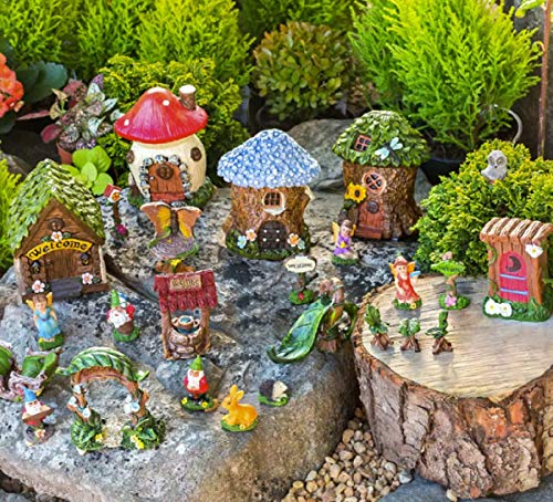 Mini Fairy Garden Kit Miniature Houses and Figurines Outdoor Village Scene for Collectors, Girls and Boys - Gardening Decorations with Slide, Arbor, Gnomes, Fairies, Signs, Animals, 25 Pieces - Miniature Fairy Gardens