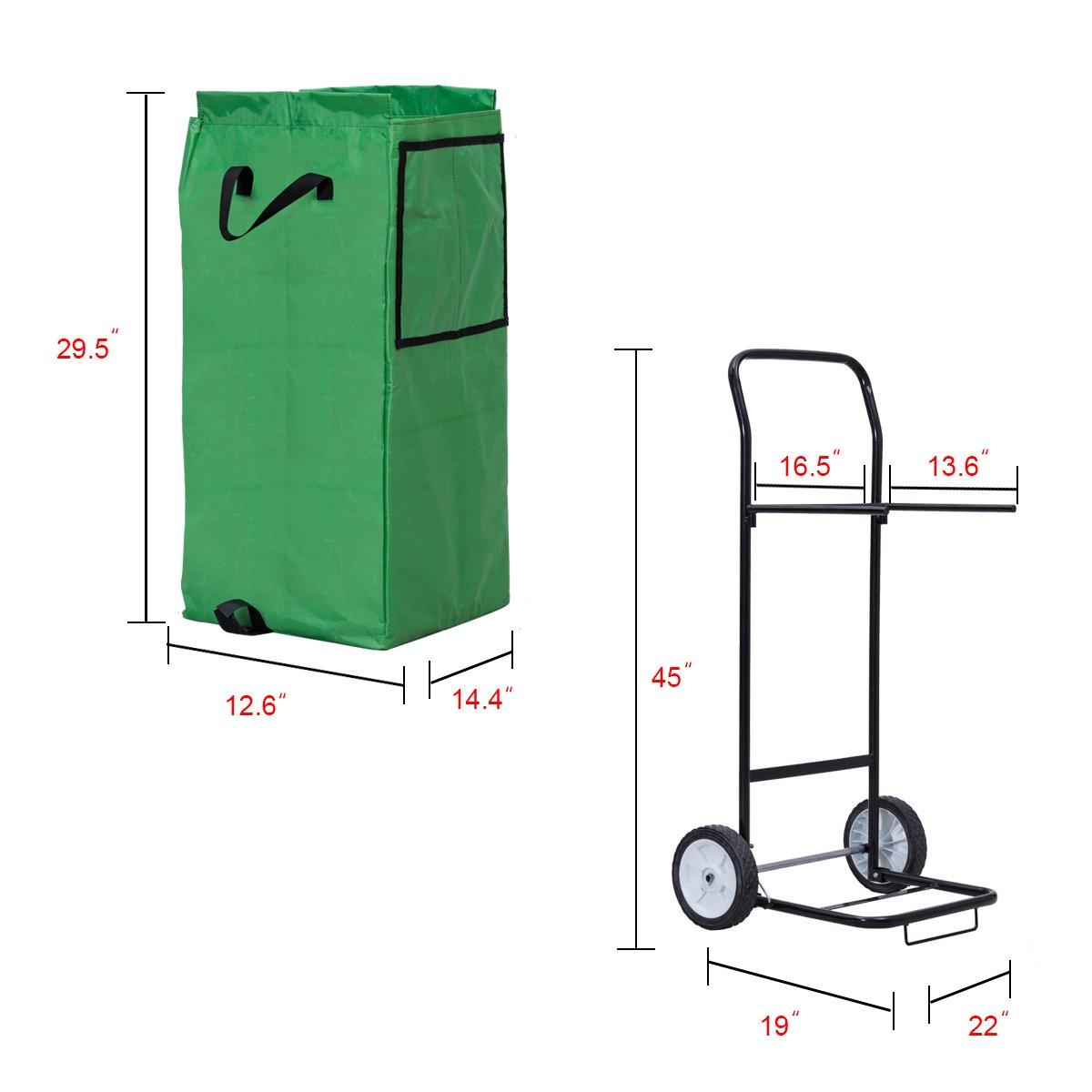 Goplus Portable Gardening Lawn Leaf Bag Detachable Tote Cart Multifunctional Folding Basket w/ Pocket Green by Goplus (Image #3)