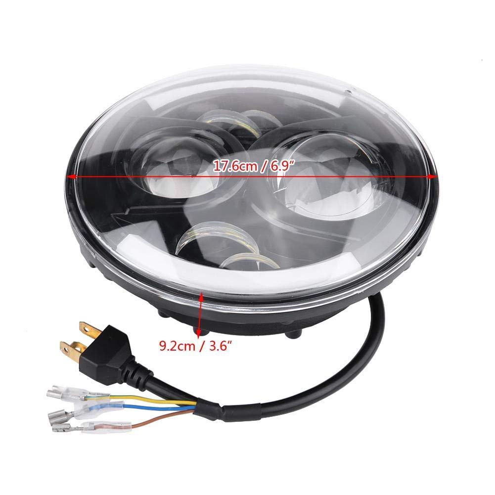 H4 7 Pouces Phares de Moto LED Rond Phares /à LED Modifi/és Avec Bo/îtier de Lampe et Support de Phare Bo/îtier de lampe + support + lampe 6500K Lumi/ère Blanche Froide