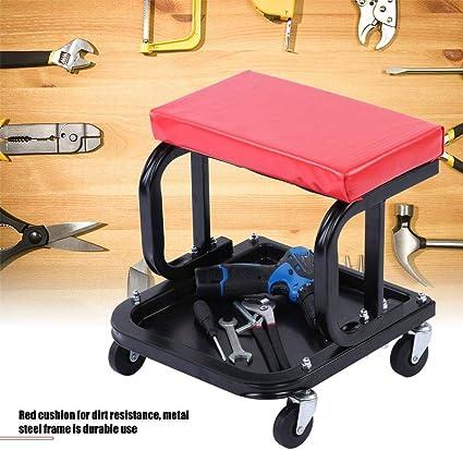 pesca asiento de taller con ruedas de trabajo taburete de mec/ánico para coche Silla de garaje viaje barbacoa