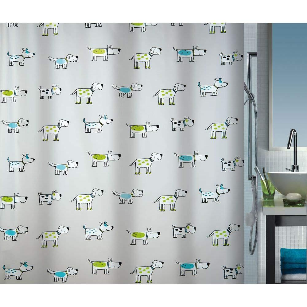 100/% Polyester Negro Spirella colecci/ón Lana Cortina de Ducha Textil 180 x 200 Blanco