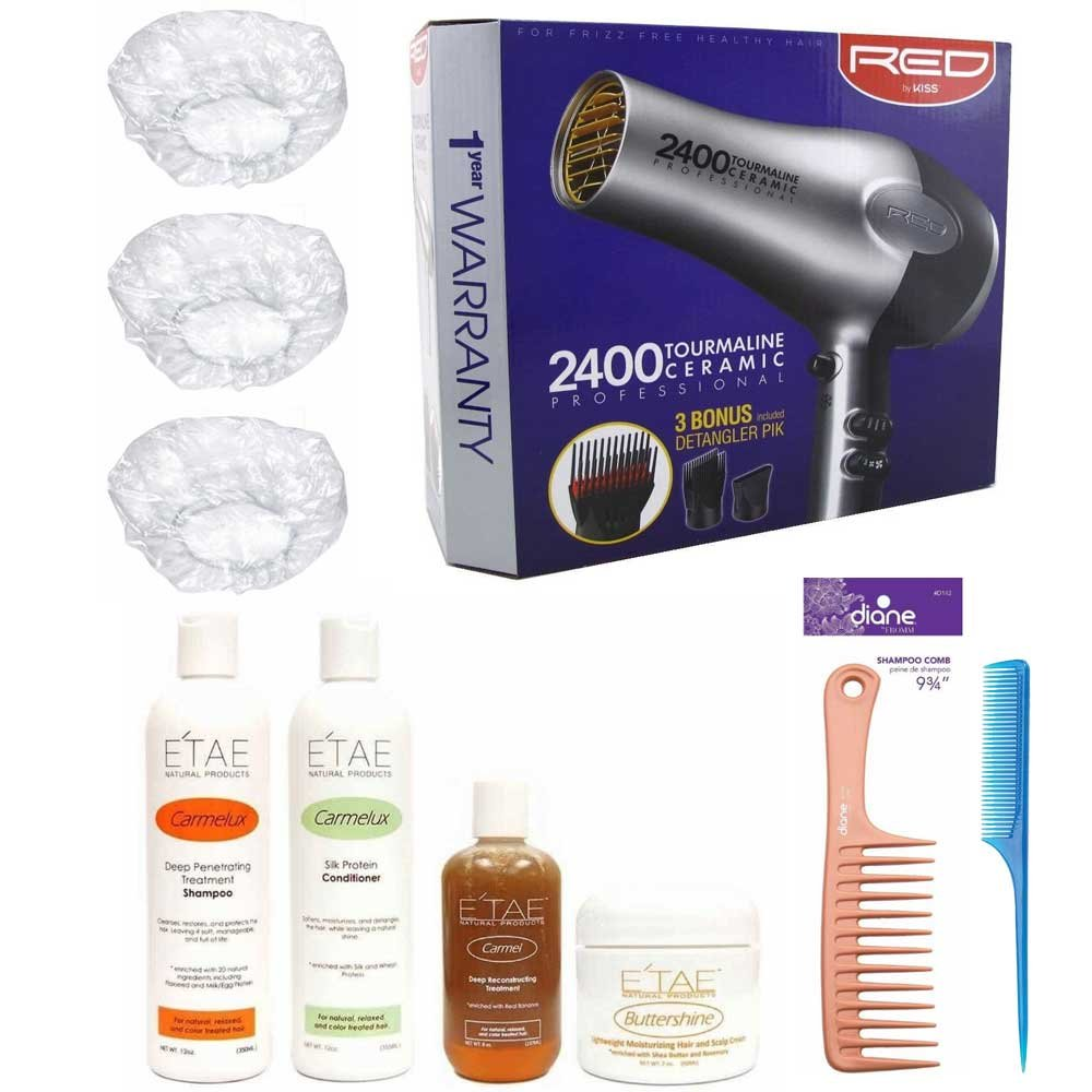 Etae Ultimate Bundle Natural Products Shampoo Conditioner Carmel Treatment Buttershine Red by Kiss 2400 Tourmaline Ceramic Blow Dryer Diane Shampoo Comb 9 3/4'' Rat Tail Comb 3 Shower Caps