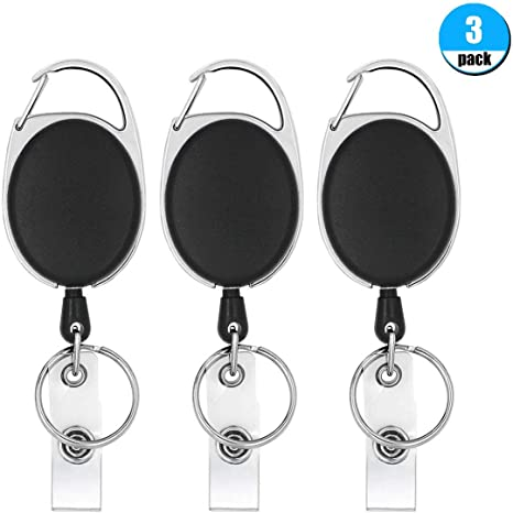 Retractable Pull Chain Key Chain Ring Badge Reel ID Card Holder With Belt Clip S