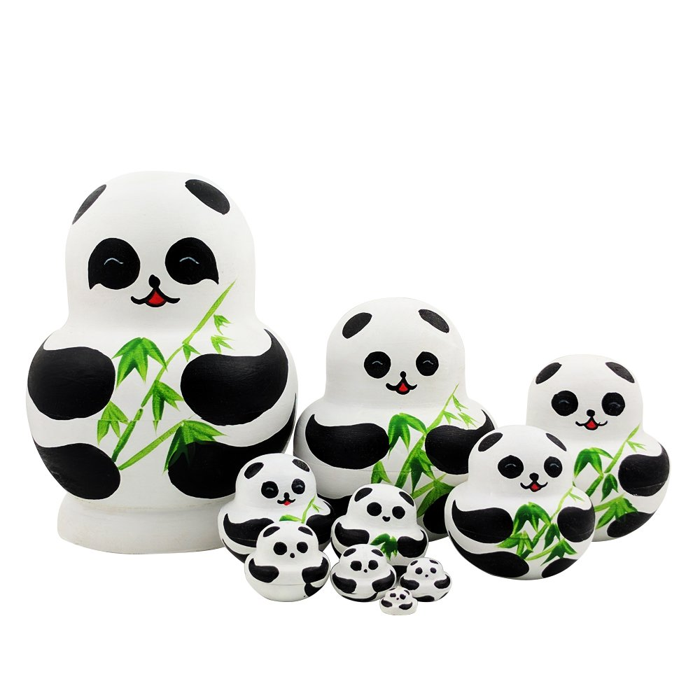 10 Pieces Cute Hand Painted Wooden Russian Nesting Dolls Stacking Dolls for Kids Toy Birthday Christmas Gift (Giant Panda Bear)