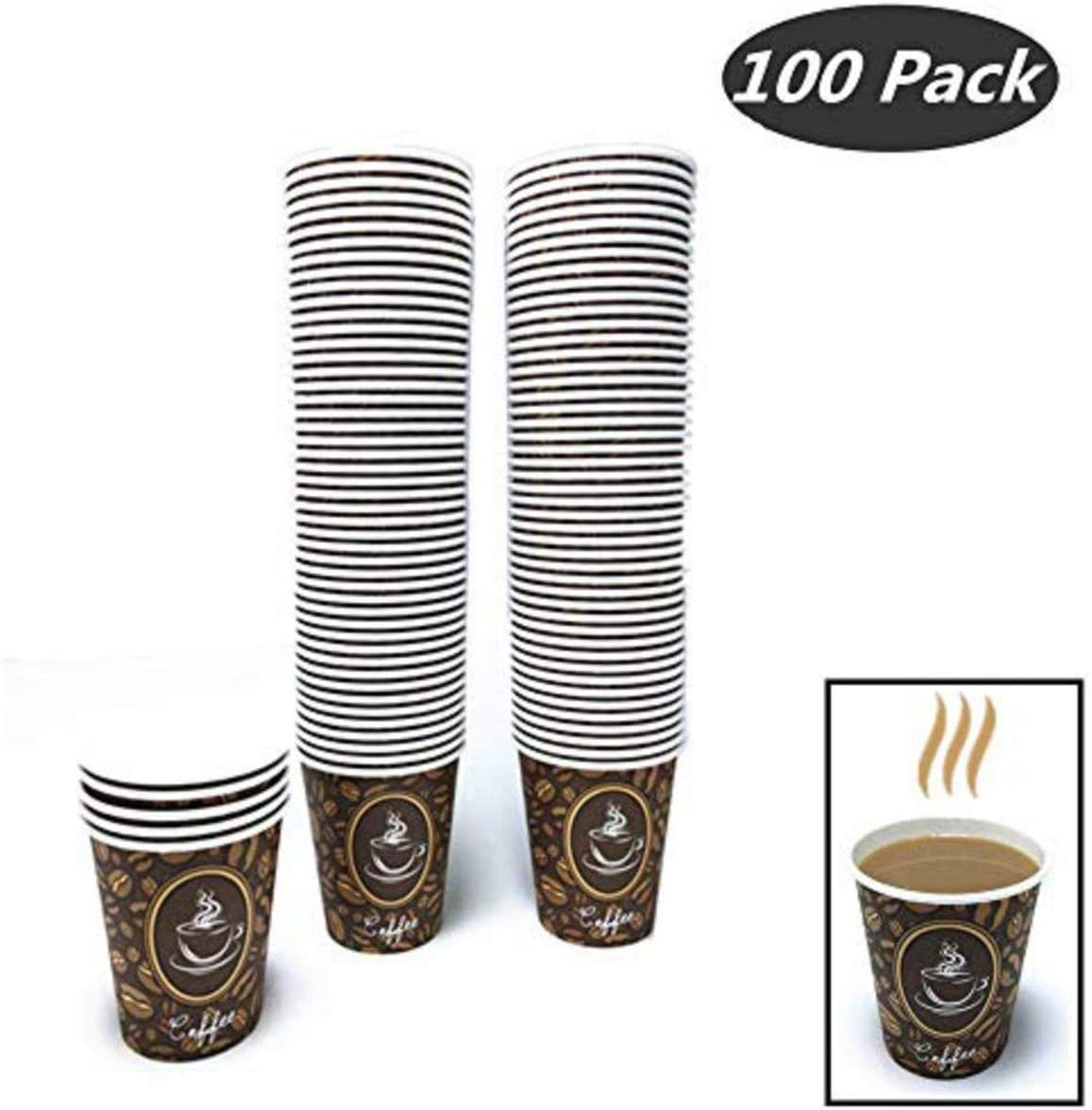 100 Pack Quality Disposable Paper Hot Coffee Cups, Perfect For Hot Drinks Tea & Coffee, Coffee Shops And Bars (8 oz, Coffee Bean Design Hot Cup)