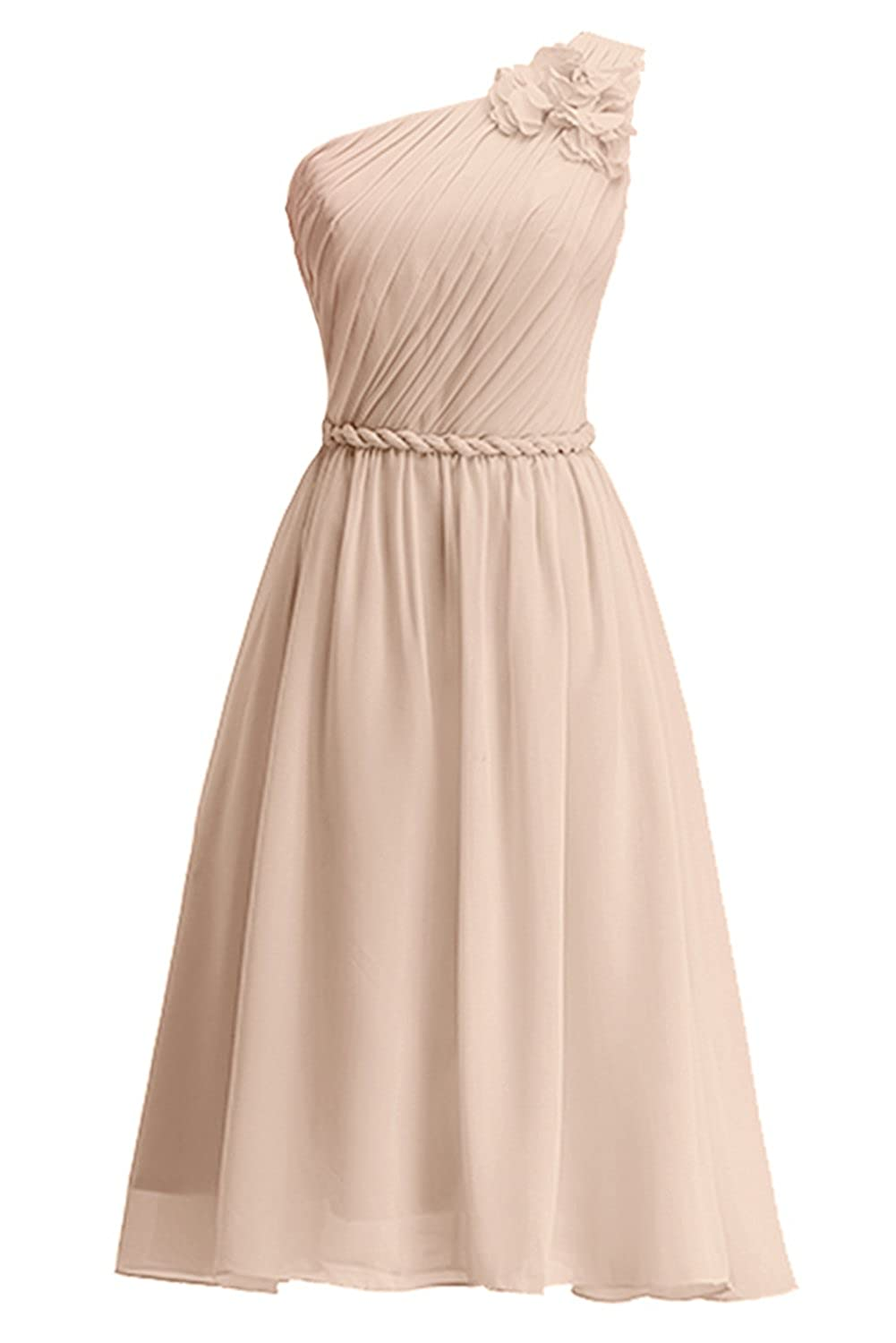 KekeHouse? One Shoulder Floral Knee Long Bridesmaid Dress Sash Short Evening Prom Gown Pleated Mother Daughter Flower Girl's Dress
