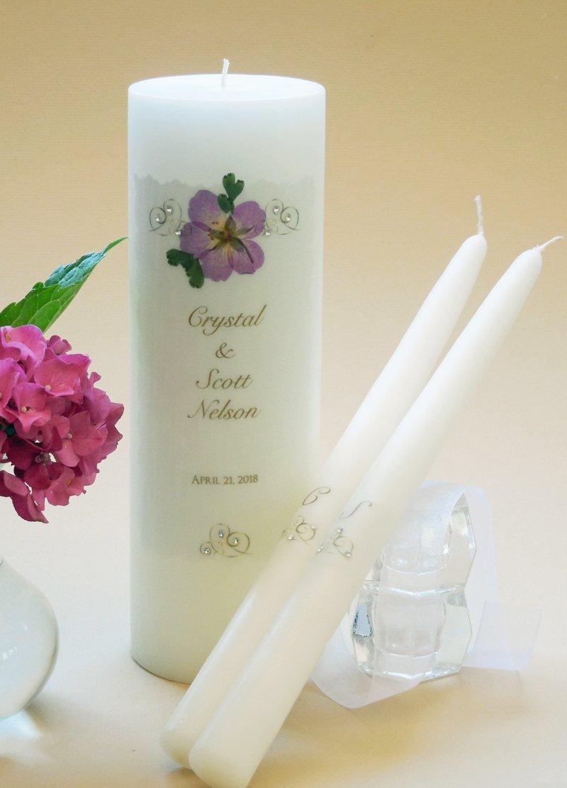Gold Elegance Wedding Unity Candles - Cherry Blossom