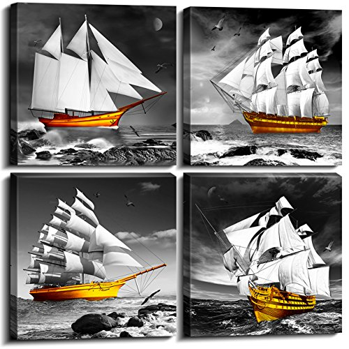 Sailboat Home Wall Decorations Art Decor For Living Room Bathroom Bedroom Picture Canvas Prints Décor Smooth Sailing Black and White with Gold Decoration Framed Painting Gifts 12