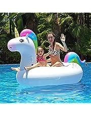 Innoo Tech Aufblasbares Einhorn Luftmatratze Schwimmbecken Schwimmtier | 2019 Sommer Sicheres Material | Riesen Strand Spielzeug Liege für Party Erwachsene Frauen Kinder | 83 x 43 x 45 Zoll