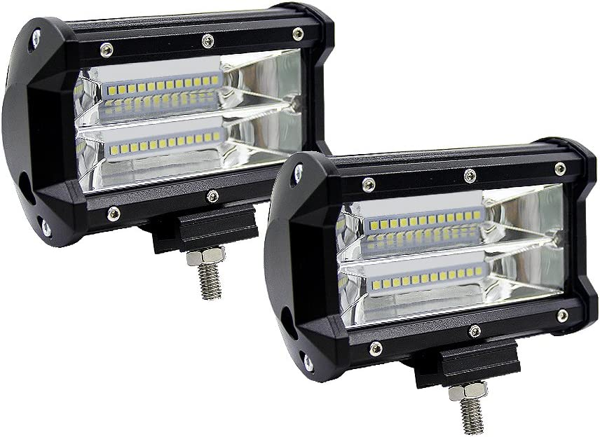 WANYI 2PCS 5 Inch Lampe de Travail Led 72W 10800LM 600K Phare Projecteur de Travail IP67 Imperméable Projecteur Voiture Chantier Eclairage Rampe Phare