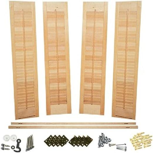 """Faux Wood DIY  1 1//4/"""" Louver Shutter Kit 39-41/"""" W X 28/"""" H"""