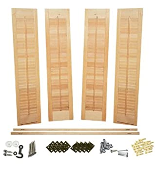 High Quality Interior Shutter Kit, 1 1/4u0026quot; Louvers, Unfinished Wood Traditional Style