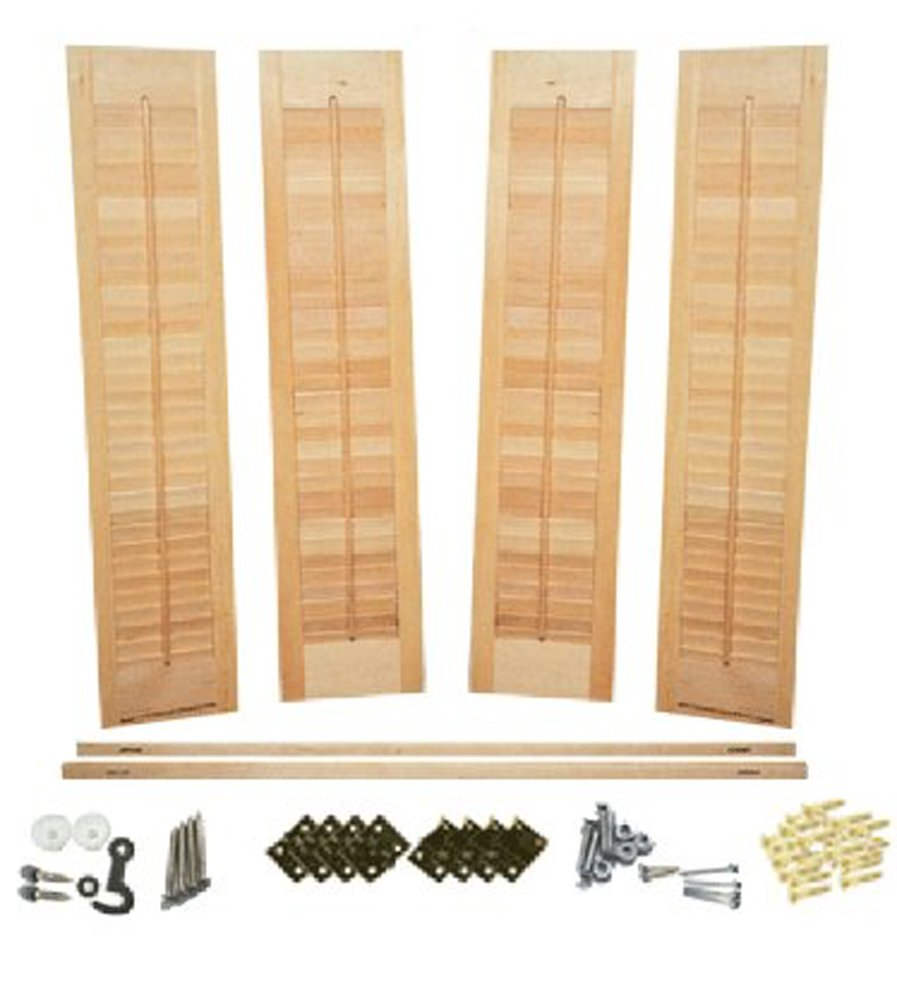Interior Shutter Kit, 1 1/4'' Louvers, Unfinished Wood-Traditional Style (Unfinished Wood(Paint Grade), 24'' W x 28'' H)