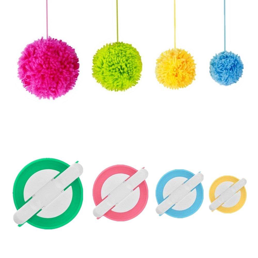 Pom pom Maker, 4 Sizes Pom-pom Maker Fluff Ball Weaver Needle Craft DIY Wool Knitting Craft Tool Set for Kids and Adult (4) Amoboo